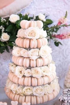 A dreamy macaron tower to center your dessert table at your summer wedding reception. Wedding Desserts, Wedding Decorations, Wedding Dessert Buffet, Bridal Shower Table Decorations, Bridal Shower Tables, Bridal Shower Party, Desserts For Bridal Shower, Recipe For Love Bridal Shower, Dessert Ideas For Wedding