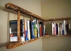 Old wooden ladder turned into book shelf. Old wooden ladder turned into book shelf. Old wooden ladder turned into book shelf. Home Projects, Interior, Diy Furniture, Bookshelves Diy, Bookshelves, Ladder Bookshelf, Old Ladder, Home Diy, Wooden Ladder