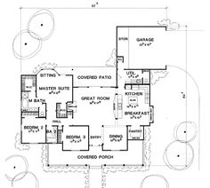 The Greenville House Plan - 1890 sq ft, substitute office for dining room, large pantry. Not a split bedroom plan, window seat in breakfast room