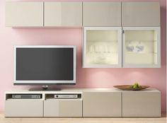 BESTA TV storage combination/glass doors