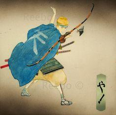 samurai, archer, aquero, flecha, arrow