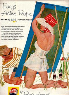 vintage beach romance 1958 advertisement pepsi by FrenchFrouFrou, $12.95