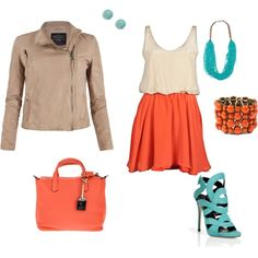love this tangerine-ish color and the turquoise
