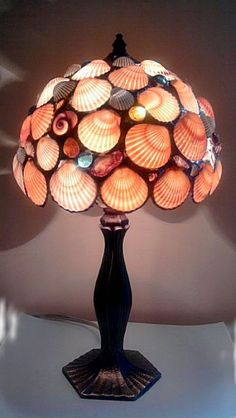 Table Lamp Tangerine Seashells Stained by Eastvillageartisans, $185.00.  I can only say *WOW*