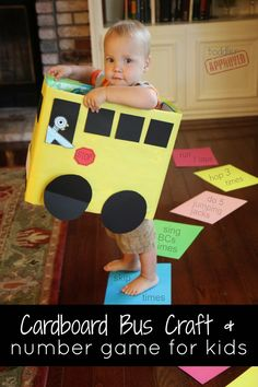 Cardboard crafts Numbers - Cardboard Box Bus Craft & Number Game for Kids Mo Willems Virtual Book Club for Kids Cardboard Bus, Cardboard Crafts, Cardboard Furniture, Toddler Play, Toddler Crafts, Toddler Activities, Preschool Activities, Motor Activities, Number Games For Kids