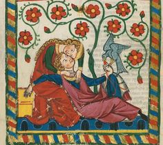 An image from the Codex Manesse, a book of poetry made in Zurich around 1304-5. Each image, including this one, depicts of the poets in this book. Here we have Konrad von Altstetten embracing his lover. (Codex Manesse, UB Heidelberg, Cod. Pal. germ. 848, fol. 249v)
