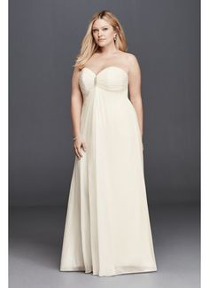 Plus Size Strapless Wedding Dress with Brooch  9OP1277