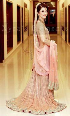 Beautiful simple wedding dress #Lehenga, #MuslimWedding, www.PerfectMuslimWedding.com
