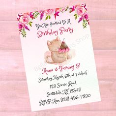 Personalized Kitty & Ice Cream Birthday Invitation - Girls Childrens Printable Birthday Invite - Watercolor - Digital Printable Download Custom Baby Shower Invitations, Printable Birthday Invitations, Personalized Invitations, Flower Hair Bows, Childrens Wall Art, Baby Wall Art, Types Of Printer, Pattern Paper, Special Day