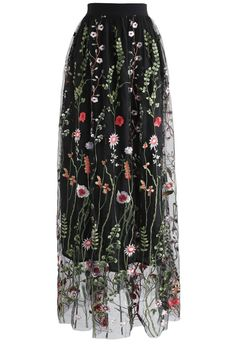 Lost in Flowering Fields Mesh Maxi Skirt in Black - New Arrivals - Retro, Indie and Unique Fashion