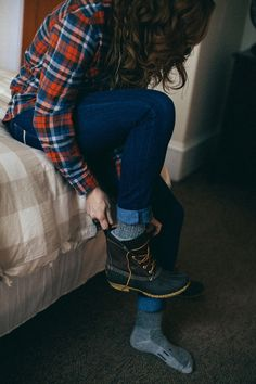 So cozy. The perfect fall/winter outfit! (Flannel shirt, dark jeans, wool socks, Sorrel boots)