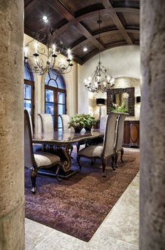 curved coffered ceiling in dining room