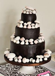 "Woodland Mushroom Cake. Handmade meringue mushrooms, neapolitan cake (rich chocolate, strawberry, and vanilla) with homemade strawberry jam filling and covered with vanilla Swiss Meringue Muttercream and chocolate fondant. ""Bark"" treatment on fondant."
