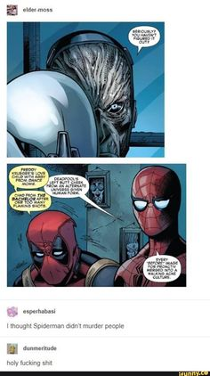 3245a478 Spidey's are more creative than deadpool's. Let that sink in Marvel Funny,  Funny Comics