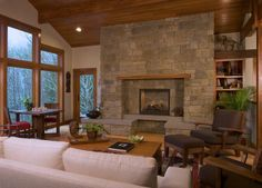 Living room, fire place, stone, comfort, northwest