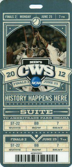 June 25, 2012, Men's NCAA College World Series, Game 2, TD Ameritrade Park, Omaha, Nebraska - Ticket Stub (Arizona Wins 4-1 Over South Carolina to Clinch Championship) by Joe Merchant, via Flickr