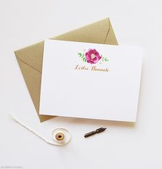 Personalized Stationery | Sangria Flower Personalized Note Cards | www.mospensstudio.com