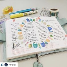Someone please teach me how to lay out washi tape in a circle like this please!!! This is so pretty and it really sets a great template for journaling. I love the colors and the way the writing is set on the two page spread. #repost @xmokii #thehobonichisociety