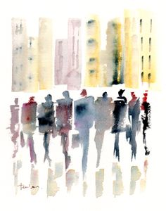 SUITS AND THE CITY Watercolour by Paul Taylor