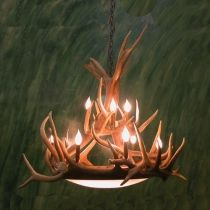 "Our ""Dallas Dome"" elk antler chandelier.  Handmade in Colorado and no animals ever harmed."