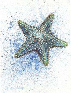 Starfish art - blue starfish nautical nursery coastal wall art trending now nautical wall decor bathroom wall art sea star watercolor art Starfish Painting, Starfish Art, Starfish Drawing, Watercolor Print, Watercolor Paintings, Watercolors, Watercolor Ocean, Painting Prints, Coastal Wall Art