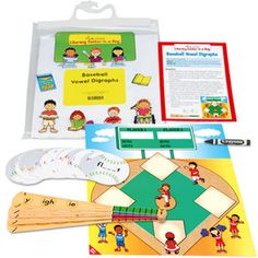 Baseball themed classroom - Kids practice vowel digraphs as they round the bases $12.99