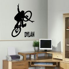 Giant Personalized BMX Bike Extreme Sport Children Art Bedroom and Living Room Decoration Sticker Stencil Decals