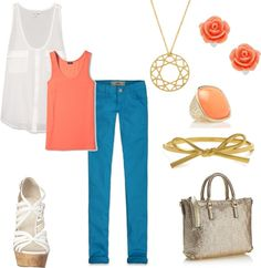 """Coral & Turquois"" by rachaelpifer on Polyvore"