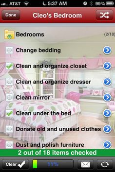 Cleaning Checklist app for iPhone