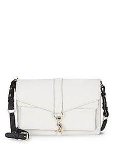NEW Rebecca Minkoff Moto Colorblock Leather Satchel Bag Crossbody White Black #RebeccaMinkoff #MessengerampampCrossBody