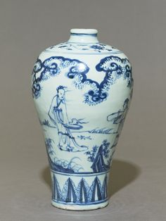 Blue-and-white meiping, or plum blossom vase, Ming dynasty, 15th century