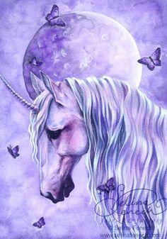 Art Print - Moonlit Magic by Selina Fenech-Selina, Fenech, Moonlit Magic, unicorn, purple, butterfly,Art print, fine art print, print, archival, giclee, giclée