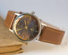 Black men's watch Rocket shabby, dress watch him, gent's watch classical, men watch mechanical, boyfriend's gift, premium leather strap new