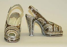 Evening Shoes: 1947, African, leather, plastic, metallic thread.