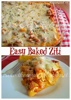 """The Country Cook: Easy Baked Ziti -- Note from Mary Marlene: """"I've fixed thi. Italian Recipes, Beef Recipes, Cooking Recipes, Pasta Recipes With Ground Beef, Budget Recipes, Cooking Videos, Cooking Tips, Healthy Recipes, Pasta Dishes"""