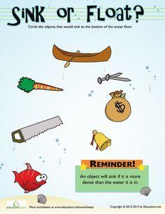 Worksheets: Sink or Float? #3