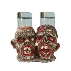 Zombie Salt and Pepper Shaker Holder Statue Horror Decor