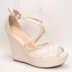 Bridal Sexy Rhinestone Lace Mesh Peep Toe Stiletto Platform Wedge Heel Shoes | eBay