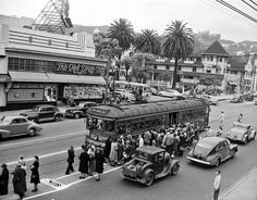 Hollywood and Highland northbound San Fernando Valley line boarding V, late 1940's image from Metro Transportation Library and Archive