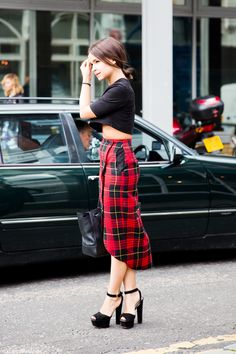 black crop top x plaid #skirt