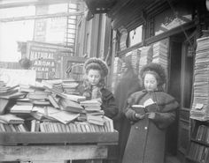 Girls reading outside a bookstore, New York or New Jersey, 1890-1910