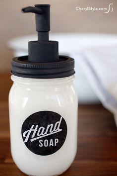 DIY Mason jar soap dispensers. (Not sure about putting the label on the inside of the jar, but cute idea.)