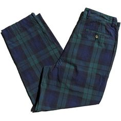 90s Plaid Tommy Hilfiger High Waisted Pants Tartan Golfer Trousers 32... ($40) ❤ liked on Polyvore featuring pants, high waisted baggy pants, blue overalls, high waisted pants, high-waist trousers and high-waisted pants
