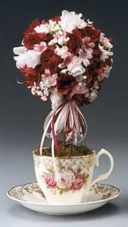 DIY Topiary  : DIY Pink and Red Teacup Topiary