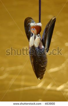 stock photo : Mussel shell christmas angel