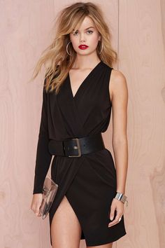 Nasty Gal Rhonda Pleated Asymmetrical Dress