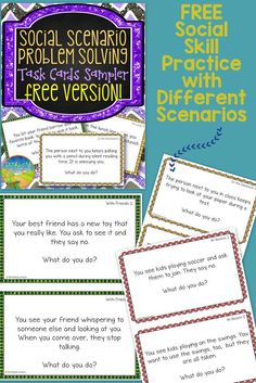 FREE Social Scenario Problem Solving Sampler - 10 fun task cards with different social situations for kids to discuss and problem solve