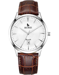 BUREI® Men's BM-3005-01A Date Stainless Steel Quartz Watch with Calfskin Leather Band and Sapphire Price:$45.99