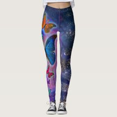 Colorful Pattern Butterflies Leggings Pants