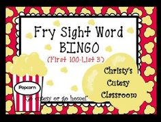 This class set of 25 popcorn themed bingo cards feature words from List 3 of the first 100 Fry sight words.  Perfect for small group or whole group play.  Includes teacher call sheet. Christy's Cutesy Classroom